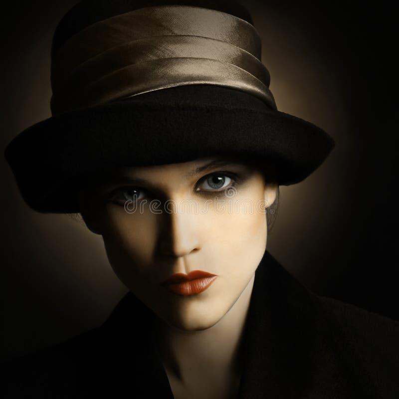 Vintage woman fashion. Retro woman in hat vintage portrait. Elegant fashion style stock photo