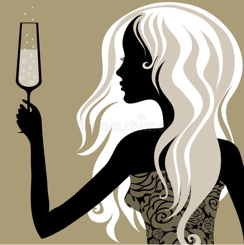 Download Vintage Woman With Glass Of Champagne Royalty Free Stock Image - Image: 10212296