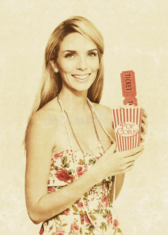 Download Vintage Woman With Pop Corn And Movie Tickets Stock Image - Image of happiness, film: 25286501