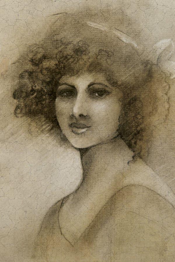 Vintage woman portrait stock photography