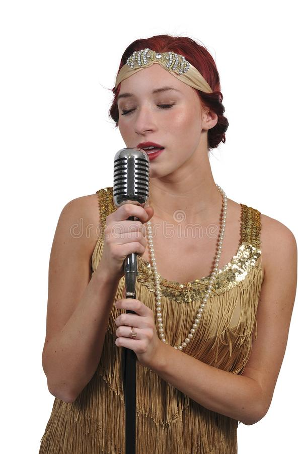 Vintage Woman Singer royalty free stock image