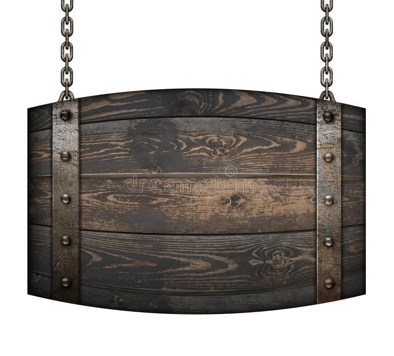 Vintage wood barrel signboard for restaurant hanging on chains isolated 3d illustration royalty free illustration
