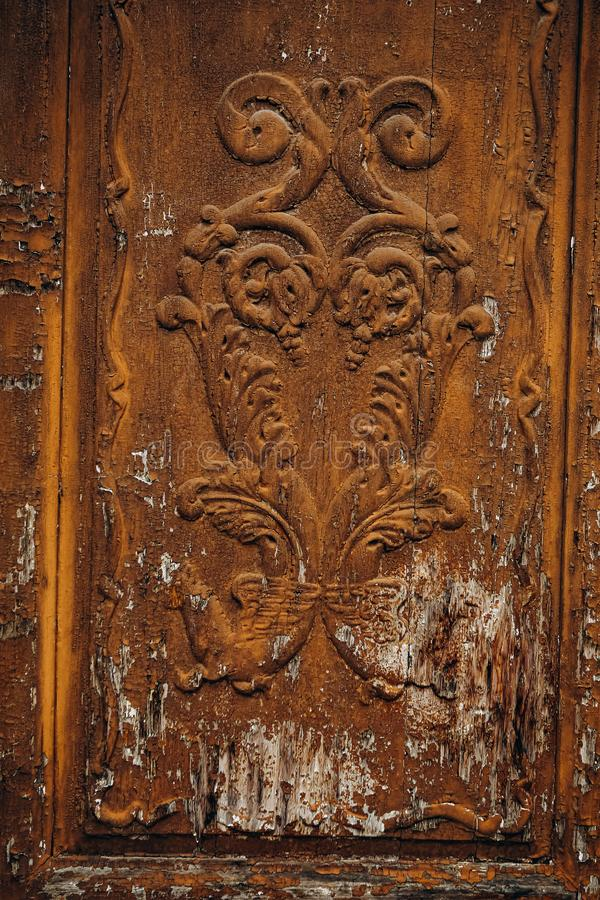 vintage wood carving structure pattern door stock image