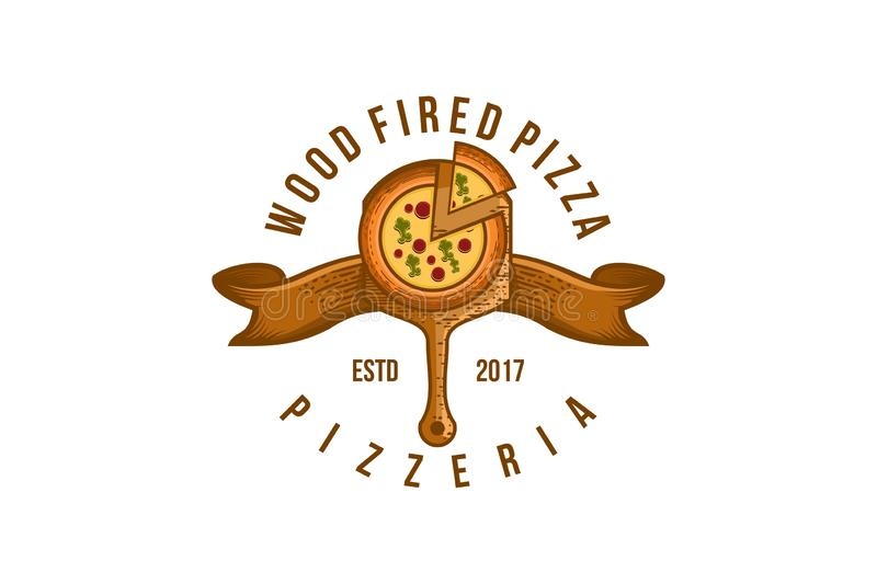 Vintage Wood Fired pizza Logo Designs Inspiration Isolated on White Background. Vintage Wood Fired pizza Logo Designs Inspiration Isolated on White Background stock illustration