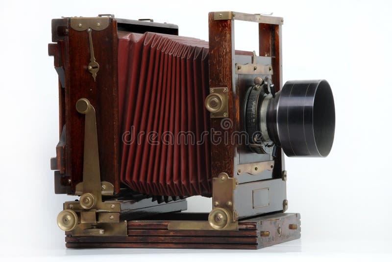 Vintage wood frame photo camera stock image