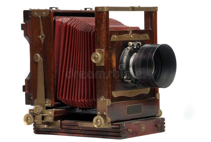 Vintage wood frame photo camera stock photo