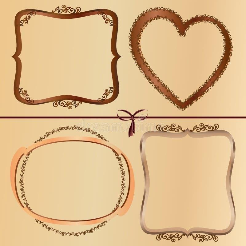Vintage wood frames royalty free illustration