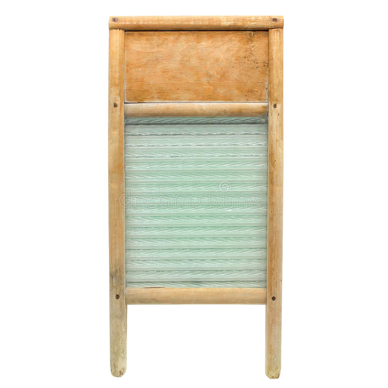 Vintage Wood and Glass Laundry Washboard Isolated royalty free stock photo