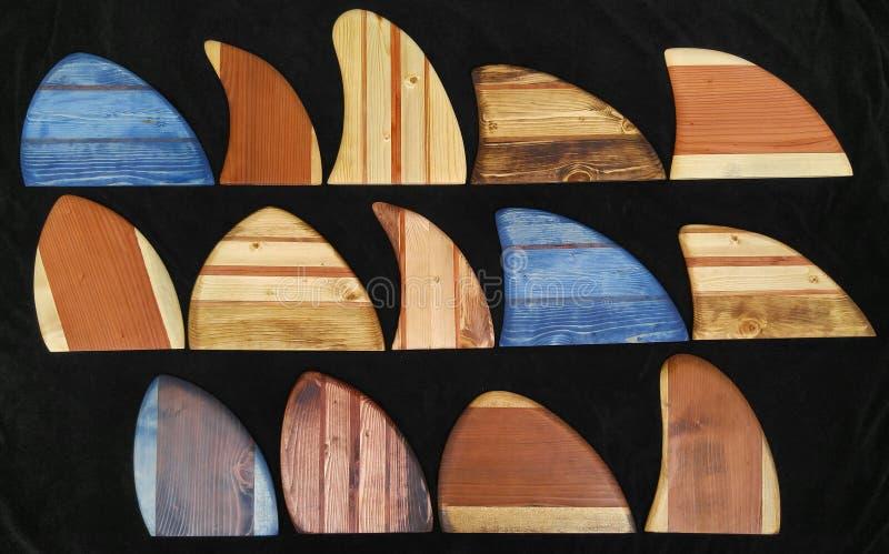 Vintage wood Surfboard Hawaiian surfing fins skegs royalty free stock photos