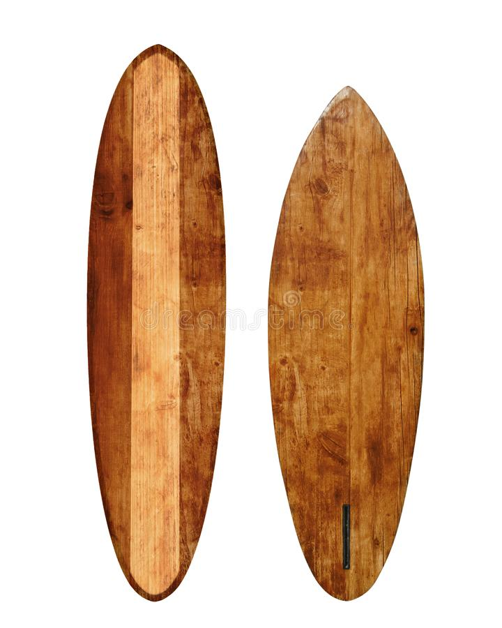 Vintage wood surfboard isolated on white. With clipping path for object, retro styles stock photos