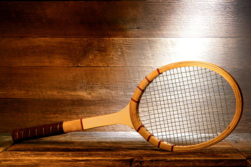 Vintage Wood Tennis Racket in Old House Attic stock image