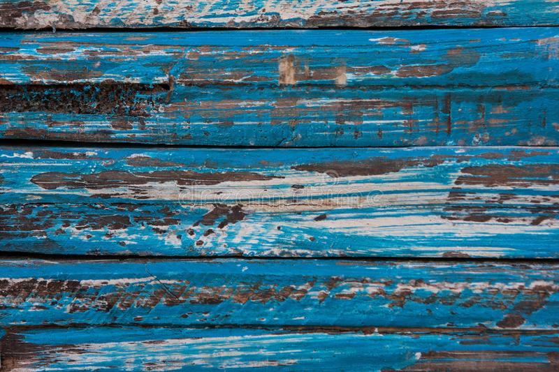 Vintage Wood Texture Background With Weathered And Chipped Blue Paint. Wooden texture with weathered, chipped blue paint stock image