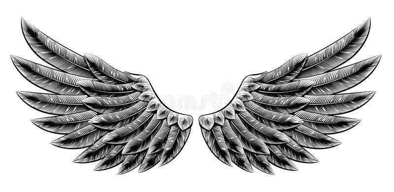 Vintage woodcut wings stock illustration