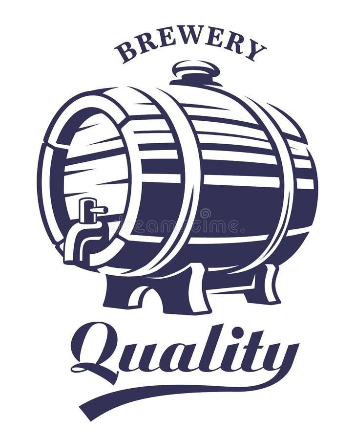 Vintage Wooden barrel design. Vintage Wooden barrel emblem on white background. Text is on the separate layer royalty free illustration