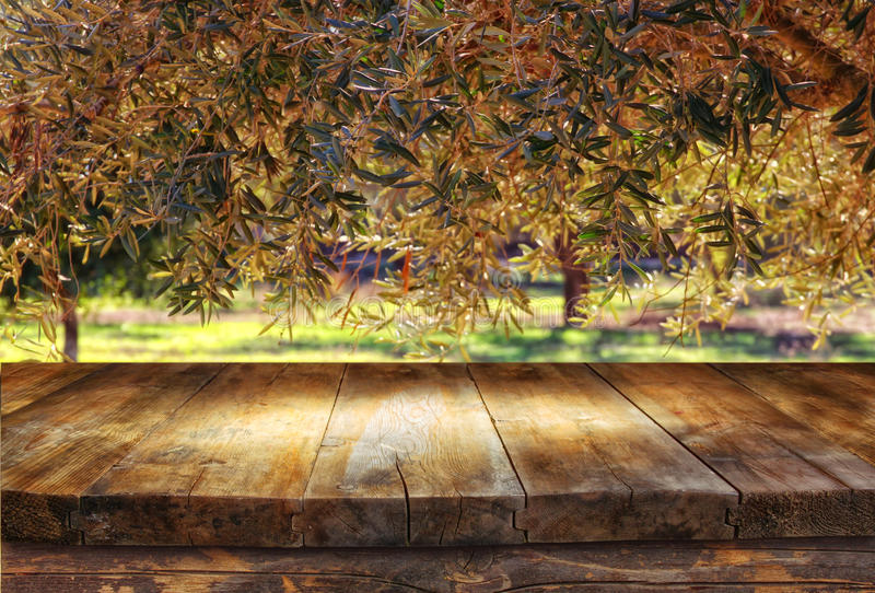 Vintage wooden board table in front of dreamy and abstract forest landscape with lens flare.  royalty free stock photography