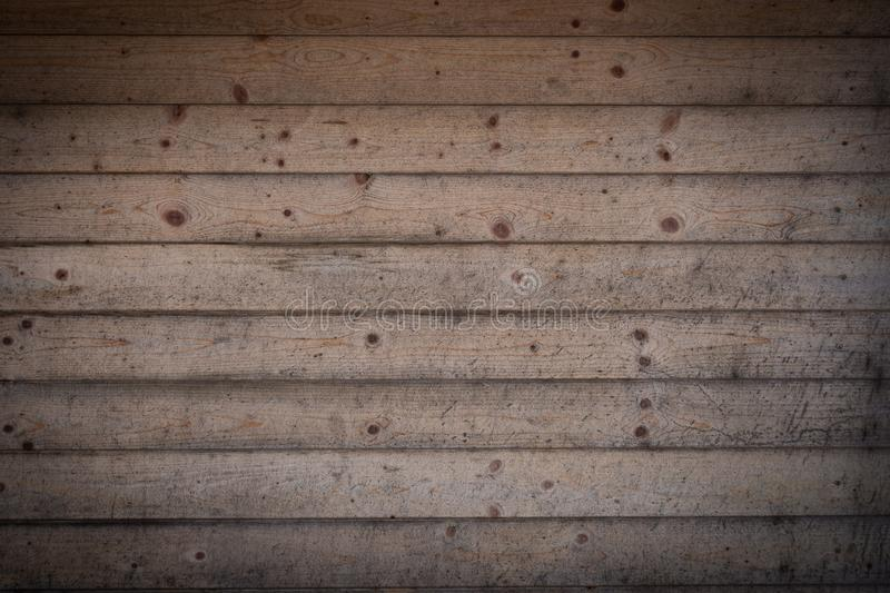 Vintage wooden boards background with vignetting frame. Grunge wood pattern. Rough panels backdrop. royalty free stock photos