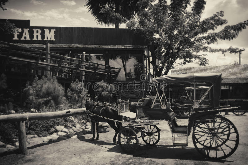 Vintage wooden carriage in the farm stock image