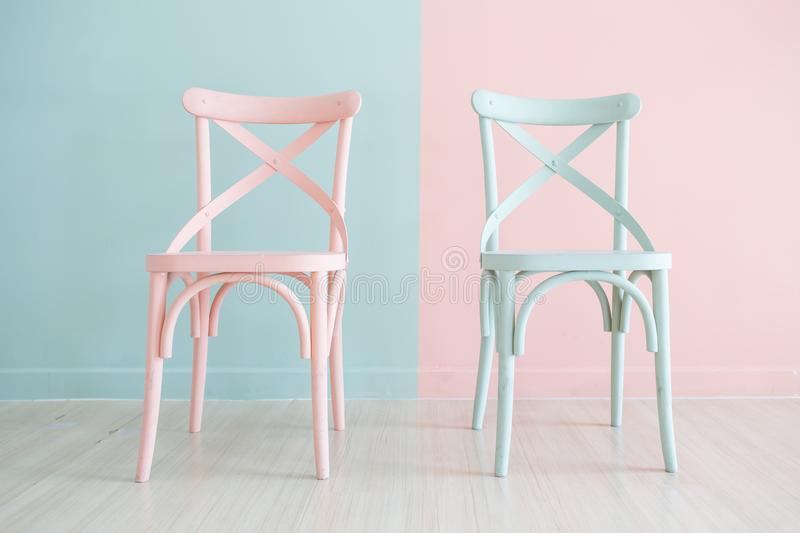 Vintage wooden chair Painted Two Tone stock photography