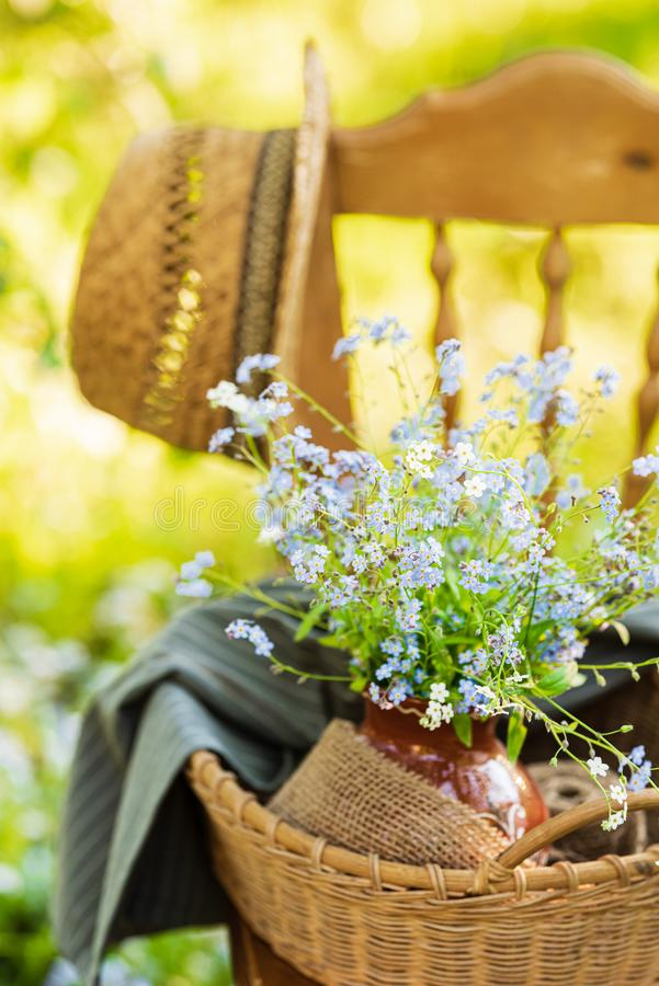Vintage wooden chair in the garden royalty free stock image