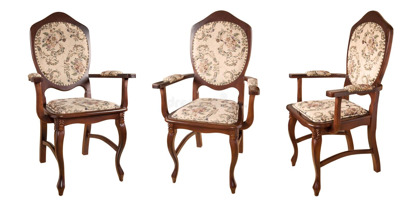 Vintage wooden chairs isolated on white background. Retro style. Furniture for refined interior. royalty free stock images