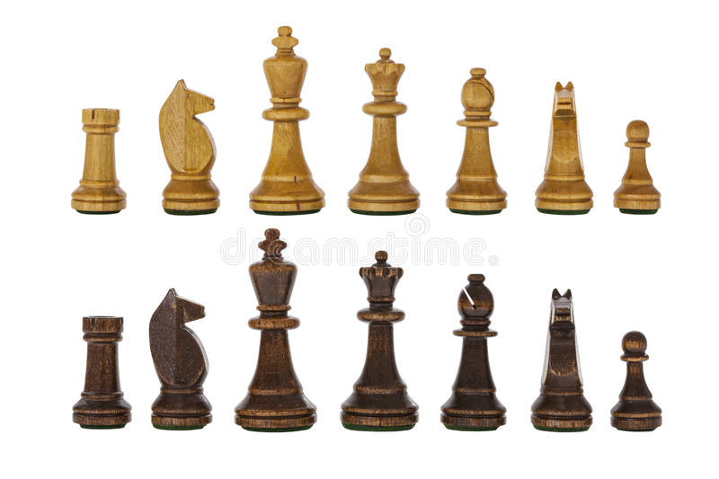 Vintage Wooden Chess Set Pieces Isolated royalty free stock images