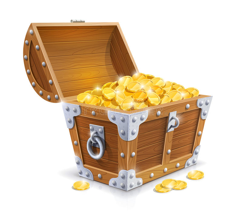 Vintage wooden chest with golden coin royalty free illustration