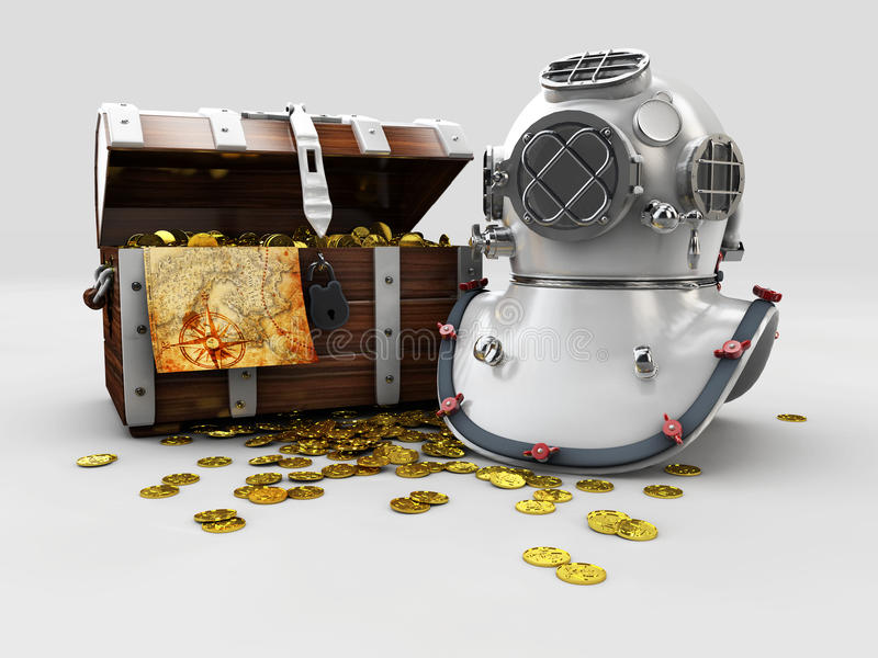 vintage wooden chest with golden coin and aqualung 3D illustration isolated vector illustration