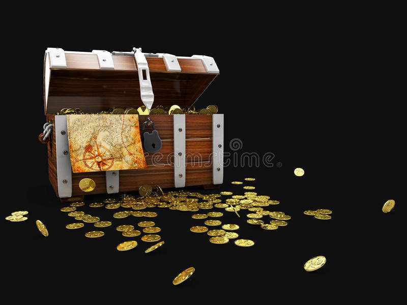 vintage wooden chest with golden coin 3D illustration isolated on black background stock illustration