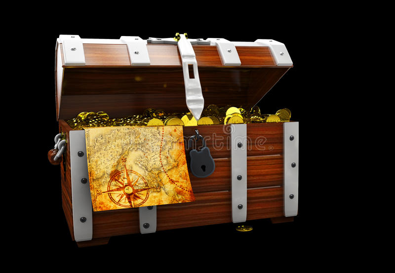vintage wooden chest with golden coin 3D illustration isolated on black background vector illustration