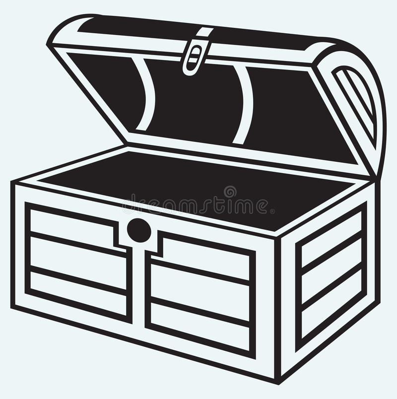 Vintage wooden chest. Isolated on blue background stock illustration