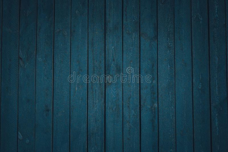 Vintage wooden dark blue horizontal boards. Front view. Background for design stock photo