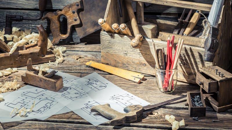 Vintage Wooden Drawing Desk In Carpenter Workshop Stock