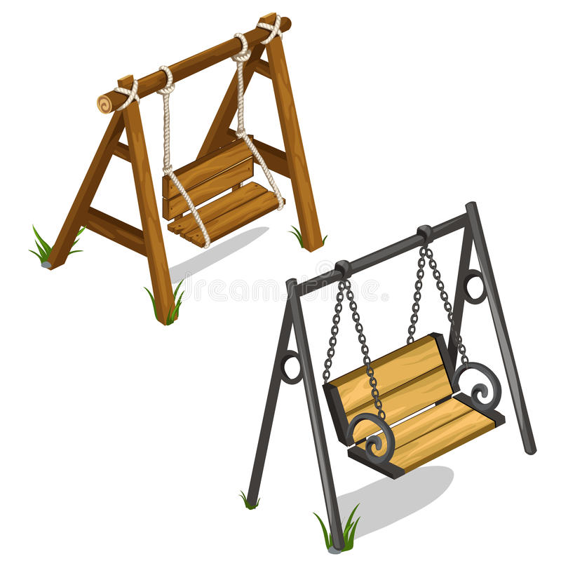 Vintage wooden and forged swing outdoors. Vector vector illustration