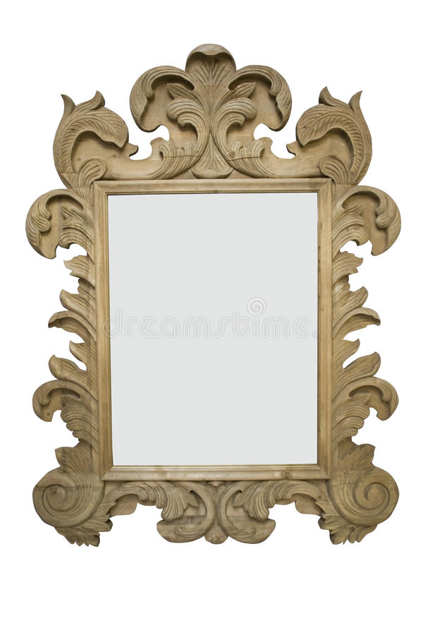 Vintage wooden frame isolated on white stock photos