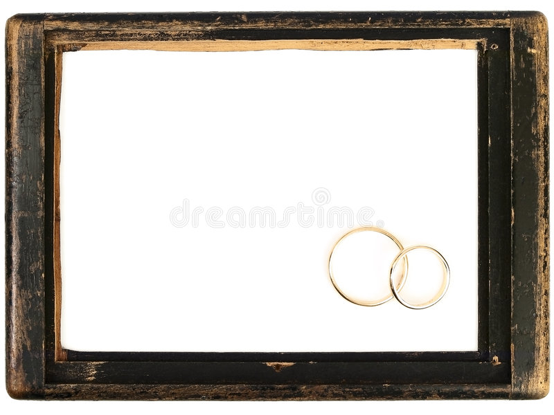 Download Vintage Wooden Frame And Wedding Rings Stock Image - Image: 7076855