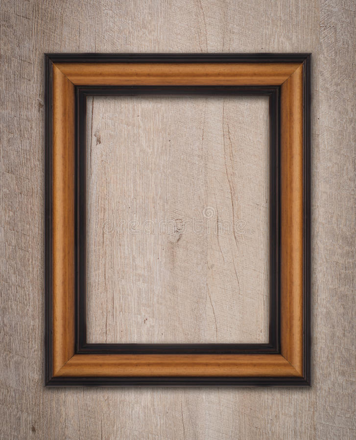 Vintage wooden frame. On a wood made wall royalty free stock photos