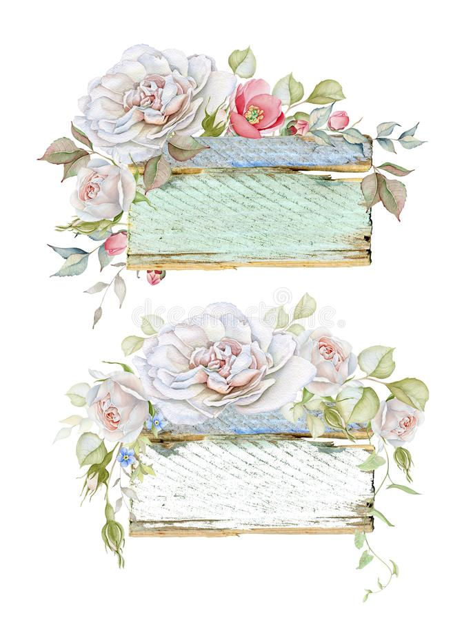 Vintage Wooden Frames with Rose Bouquets. Hand drawn watercolor set of wooden floral frames isolated on white background vector illustration