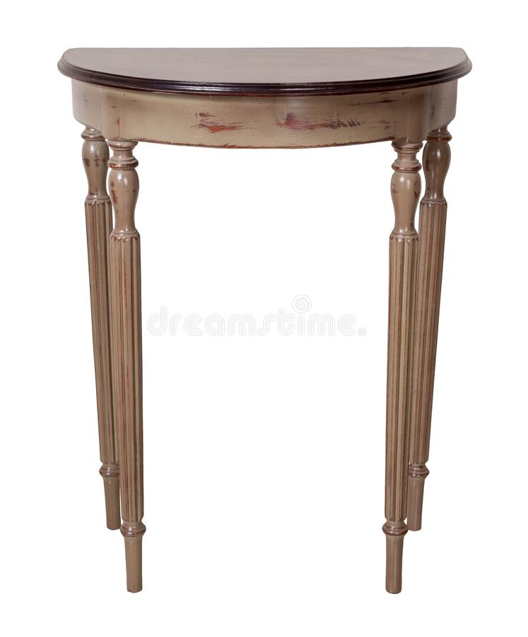 Vintage wooden half moon console table with brown top and beige legs isolated on white background including clipping path. Vintage Furniture - Retro wooden half stock photos