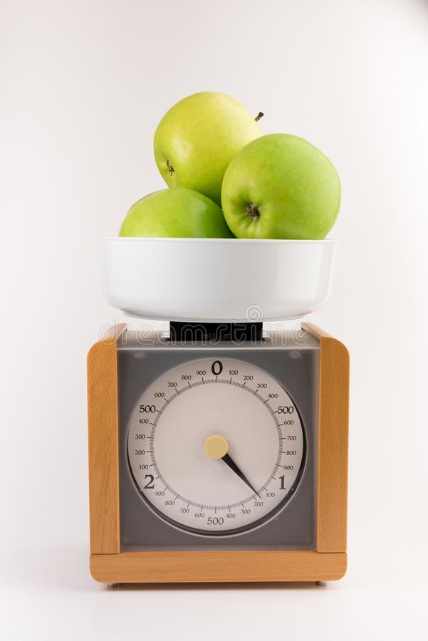 Vintage wooden kitchen scales stock images