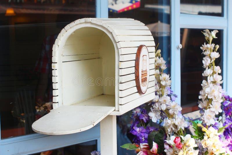 Vintage Wooden Mailbox stock photo
