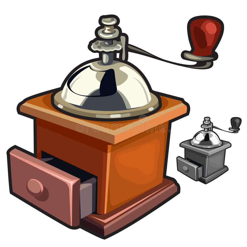 Vintage wooden manual coffee grinder handy royalty free illustration