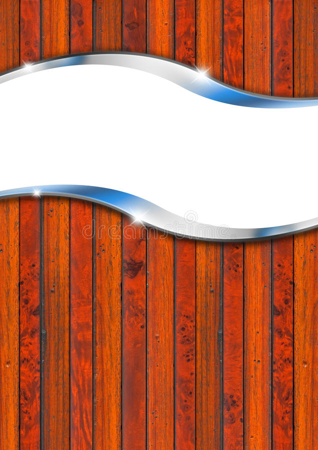 Vintage Wooden and Metal Background. Wood and metal background with wave and reflections vector illustration