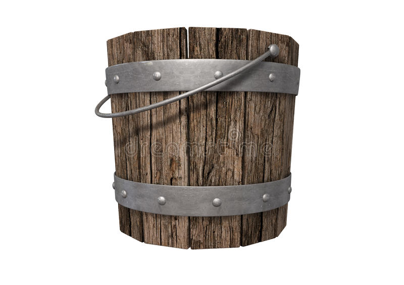 Vintage Wooden and Metal Bucket. A vintage wooden bucket with metal ring supports and a handle on an isolated background royalty free stock image