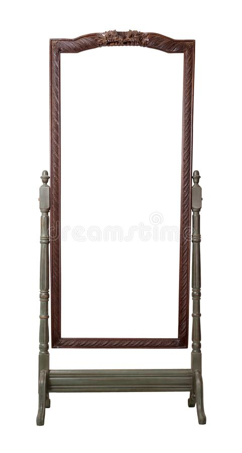 Vintage wooden ornate rectangular cheval standing dressing mirror painted in dark green and brown colors isolated on white stock image