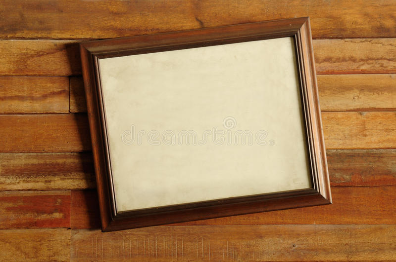 Vintage wooden picture frame stock image