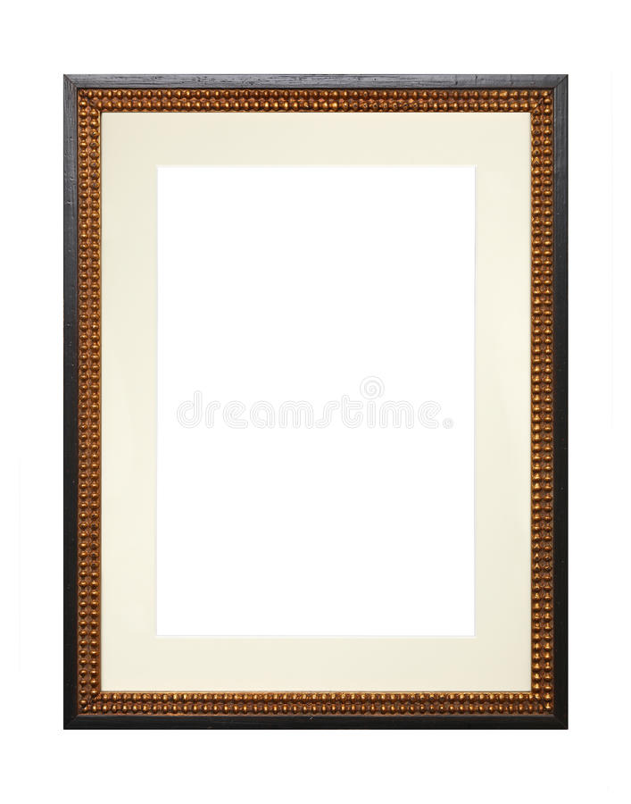 Vintage wooden picture frame with cardboard mat royalty free stock photos