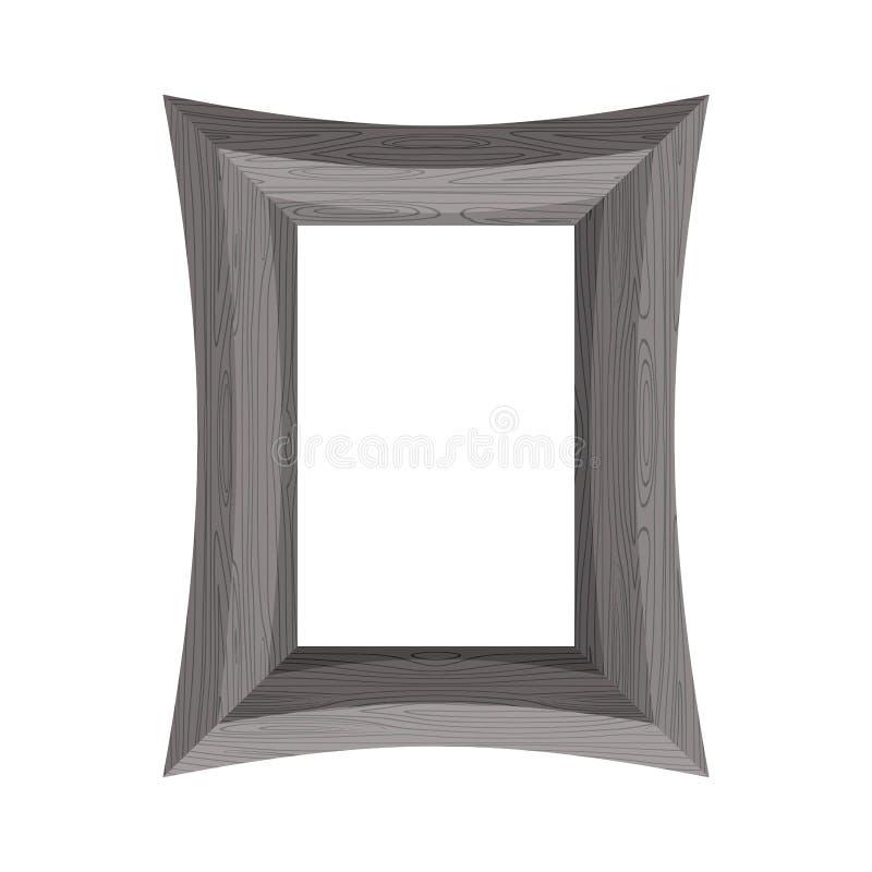 Vintage Wooden picture frame. Vector illustration of black wood royalty free illustration