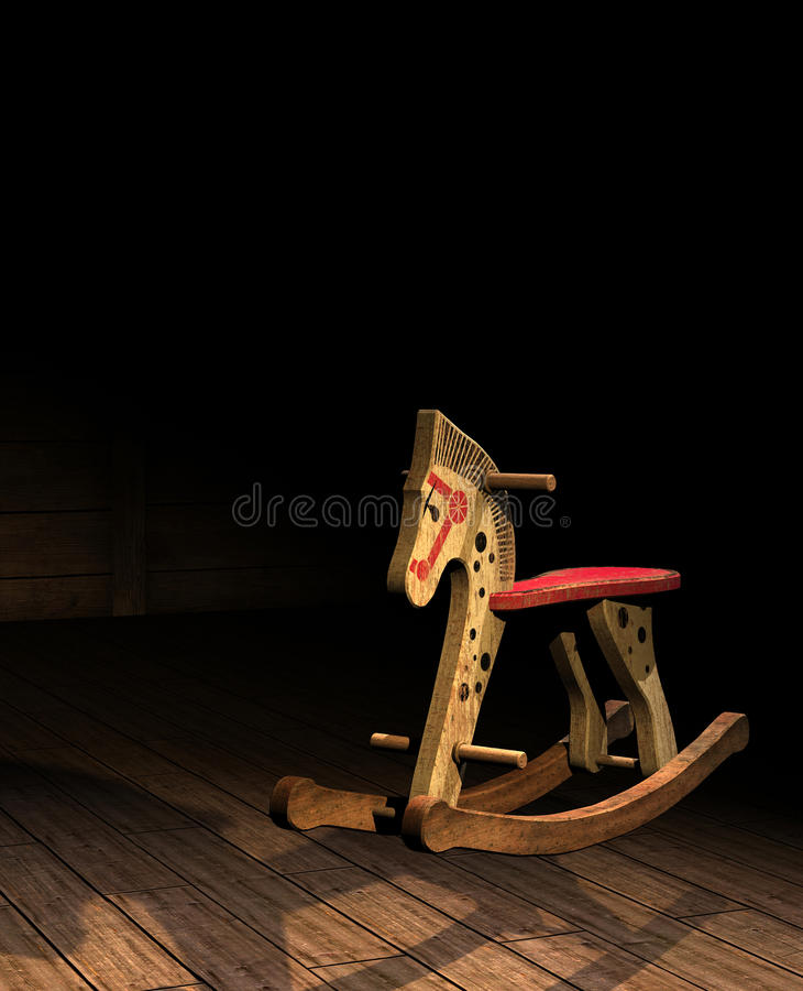 Vintage wooden rocking horse иллюстрация вектора