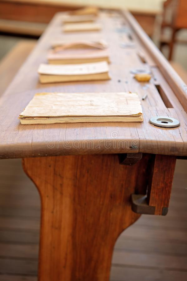 Vintage Wooden School Desk With Books royalty free stock photography