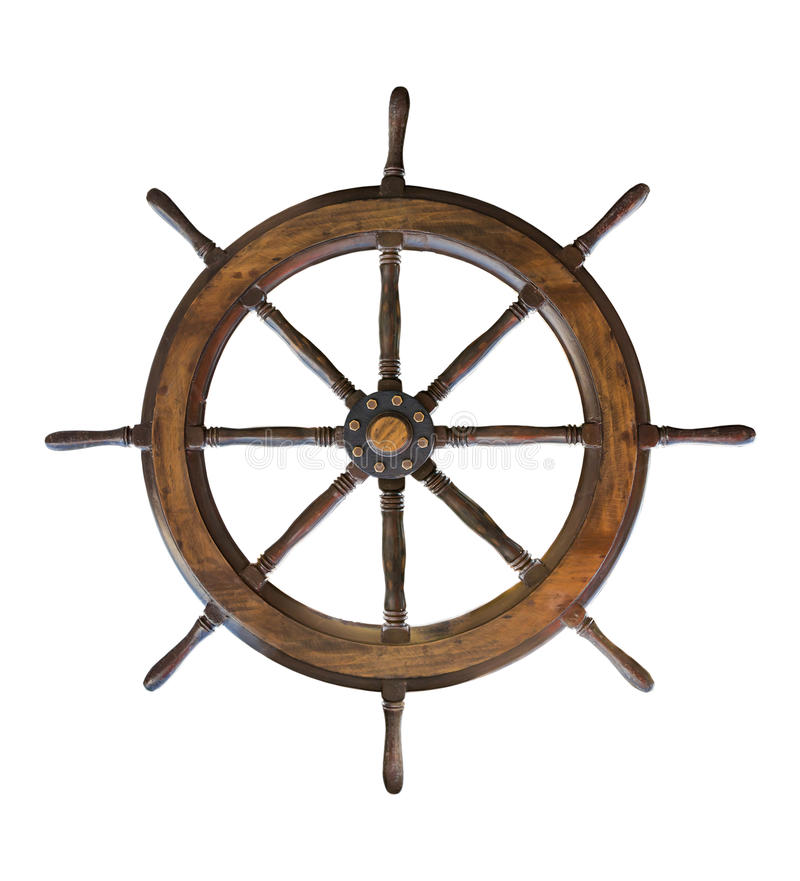 Vintage wooden ship steering wheel rudder isolated on a white ba royalty free stock photos